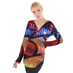 Graphic Shapes Experimental Rainbow Color Women s Tie Up Tee