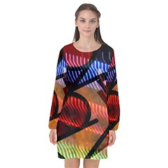 Graphic Shapes Experimental Rainbow Color Long Sleeve Chiffon Shift Dress