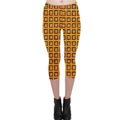 Halloween Squares Plaid Orange Capri Leggings