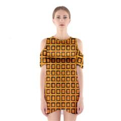 Halloween Squares Plaid Orange Shoulder Cutout One Piece