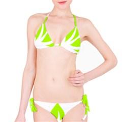 Leaf Green White Bikini Set