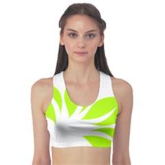 Leaf Green White Sports Bra