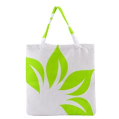 Leaf Green White Grocery Tote Bag