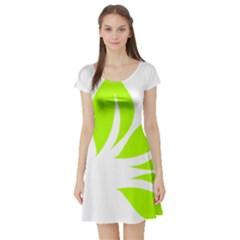 Leaf Green White Short Sleeve Skater Dress