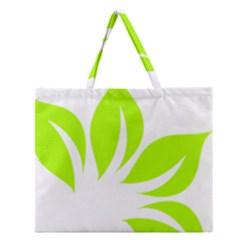 Leaf Green White Zipper Large Tote Bag