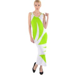 Leaf Green White Fitted Maxi Dress
