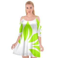 Leaf Green White Cutout Spaghetti Strap Chiffon Dress
