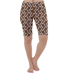 Horse Shoes Iron White Brown Cropped Leggings