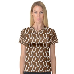 Horse Shoes Iron White Brown Women s V-Neck Sport Mesh Tee