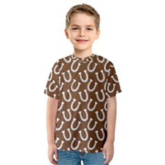 Horse Shoes Iron White Brown Kids  Sport Mesh Tee
