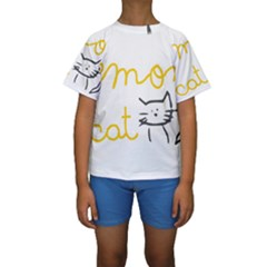 Lemon Animals Cat Orange Kids  Short Sleeve Swimwear