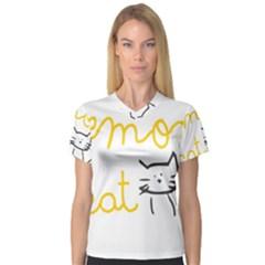 Lemon Animals Cat Orange Women s V-Neck Sport Mesh Tee