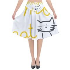 Lemon Animals Cat Orange Flared Midi Skirt