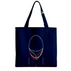 Line Light Blue Green Red Yellow Zipper Grocery Tote Bag