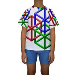 Impossible Cubes Red Green Blue Kids  Short Sleeve Swimwear
