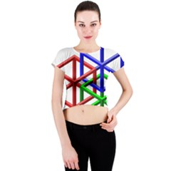 Impossible Cubes Red Green Blue Crew Neck Crop Top