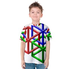 Impossible Cubes Red Green Blue Kids  Cotton Tee