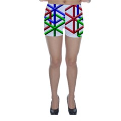 Impossible Cubes Red Green Blue Skinny Shorts