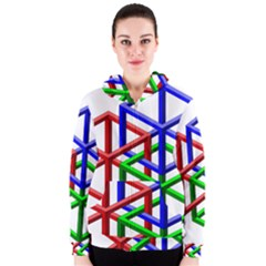Impossible Cubes Red Green Blue Women s Zipper Hoodie