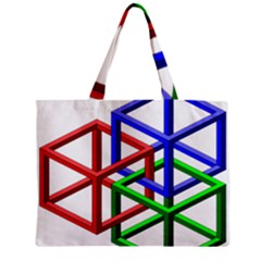 Impossible Cubes Red Green Blue Zipper Mini Tote Bag
