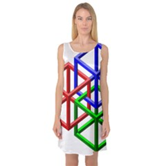 Impossible Cubes Red Green Blue Sleeveless Satin Nightdress