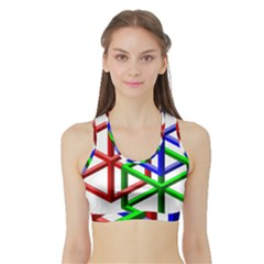 Impossible Cubes Red Green Blue Sports Bra with Border