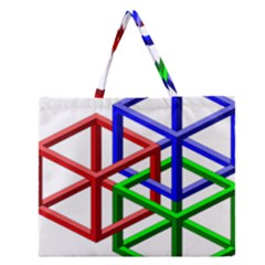 Impossible Cubes Red Green Blue Zipper Large Tote Bag