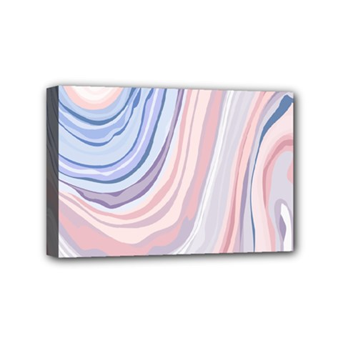 Marble Abstract Texture With Soft Pastels Colors Blue Pink Grey Mini Canvas 6  x 4