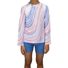 Marble Abstract Texture With Soft Pastels Colors Blue Pink Grey Kids  Long Sleeve Swimwear