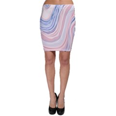 Marble Abstract Texture With Soft Pastels Colors Blue Pink Grey Bodycon Skirt