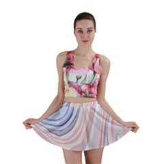 Marble Abstract Texture With Soft Pastels Colors Blue Pink Grey Mini Skirt