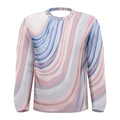 Marble Abstract Texture With Soft Pastels Colors Blue Pink Grey Men s Long Sleeve Tee