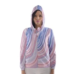 Marble Abstract Texture With Soft Pastels Colors Blue Pink Grey Hooded Wind Breaker (Women)