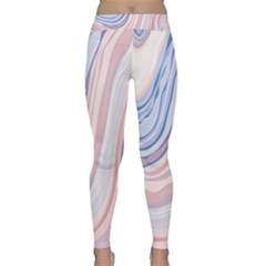 Marble Abstract Texture With Soft Pastels Colors Blue Pink Grey Classic Yoga Leggings