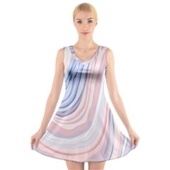 Marble Abstract Texture With Soft Pastels Colors Blue Pink Grey V-Neck Sleeveless Skater Dress
