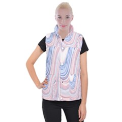 Marble Abstract Texture With Soft Pastels Colors Blue Pink Grey Women s Button Up Puffer Vest