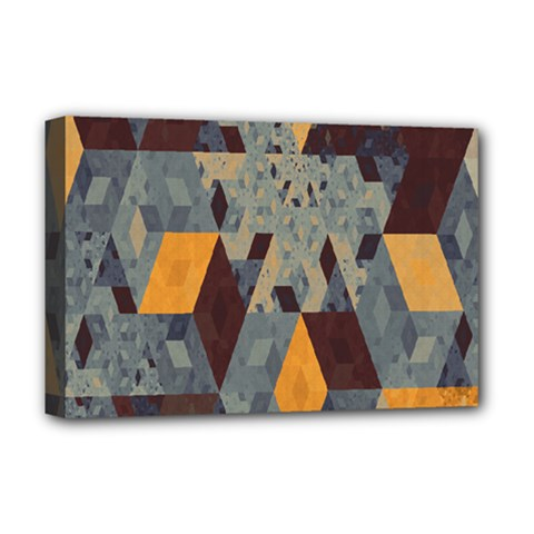 Apophysis Isometric Tessellation Orange Cube Fractal Triangle Deluxe Canvas 18  x 12