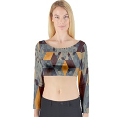 Apophysis Isometric Tessellation Orange Cube Fractal Triangle Long Sleeve Crop Top