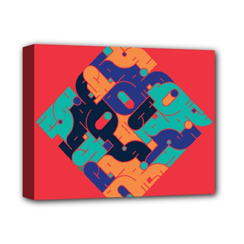 Plaid Red Sign Orange Blue Deluxe Canvas 14  x 11