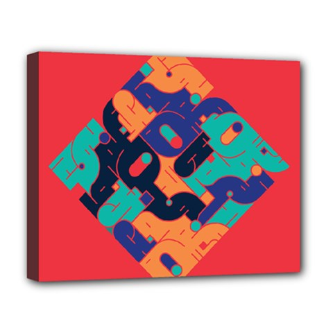 Plaid Red Sign Orange Blue Deluxe Canvas 20  x 16