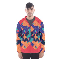 Plaid Red Sign Orange Blue Hooded Wind Breaker (Men)