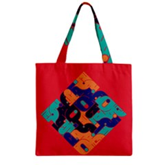 Plaid Red Sign Orange Blue Zipper Grocery Tote Bag