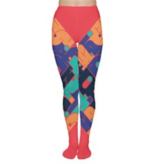 Plaid Red Sign Orange Blue Women s Tights