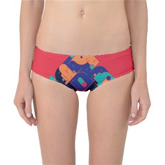 Plaid Red Sign Orange Blue Classic Bikini Bottoms