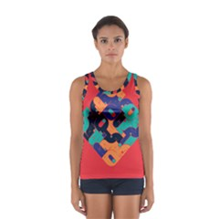 Plaid Red Sign Orange Blue Women s Sport Tank Top