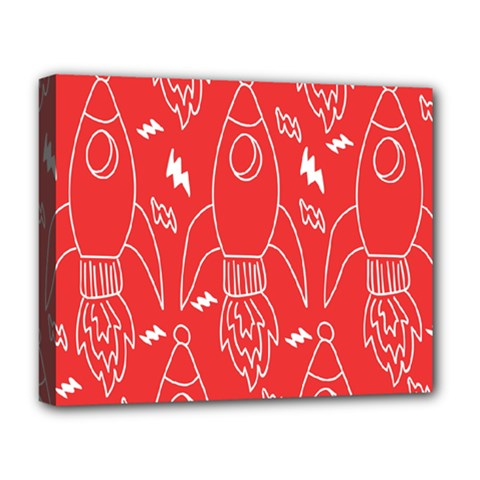 Moon Red Rocket Space Deluxe Canvas 20  x 16