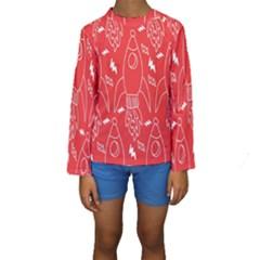 Moon Red Rocket Space Kids  Long Sleeve Swimwear