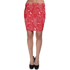 Moon Red Rocket Space Bodycon Skirt