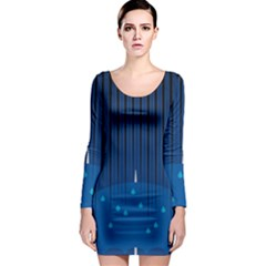 Rain Blue Sky Water Black Line Long Sleeve Bodycon Dress