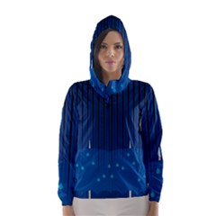 Rain Blue Sky Water Black Line Hooded Wind Breaker (Women)